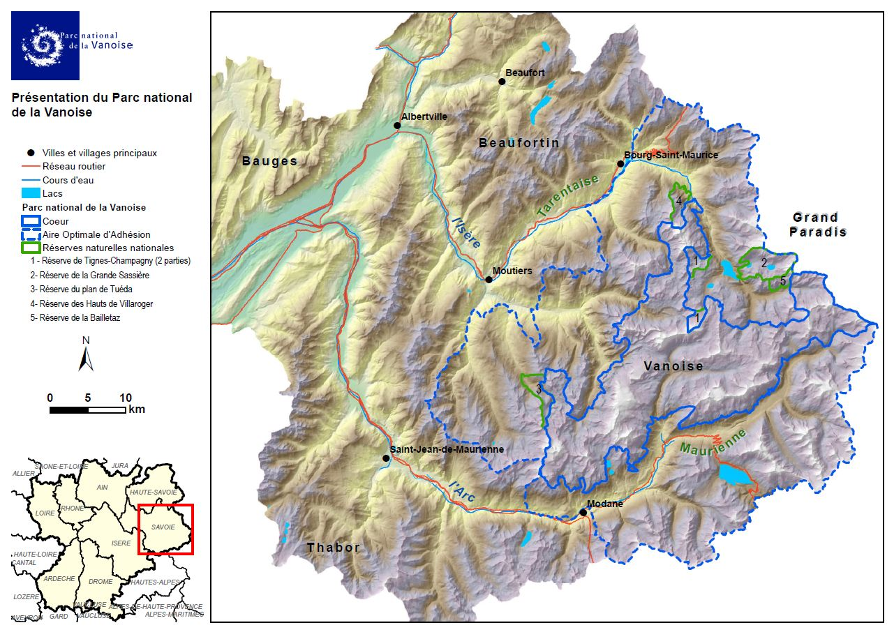 Areas of the Parc de la Vanoise